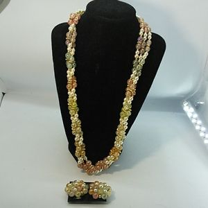 Jewelry - 3 Strand Beaded Necklace/Clip on Earrings